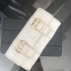 Michael Kors White  Wallet w Gold Buckle